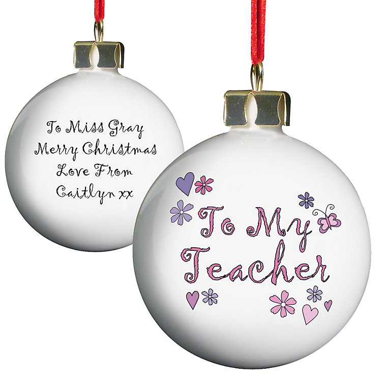 Personalised Flowers To My Teacher Bauble - Product number 1447947