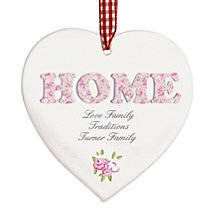 Personalised Floral Design Wooden Heart Shaped Decoration - Product number 1448196