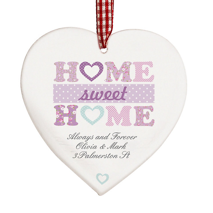 Personalised Floral Sweet Home Wooden Heart Decoration - Product number 1448226