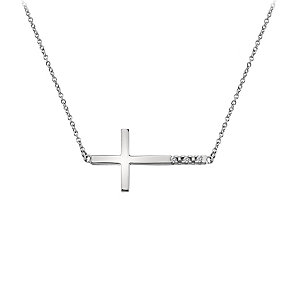 Hot Diamonds Sterling Silver Diamond Sideways Cross Necklace - Product number 1449478