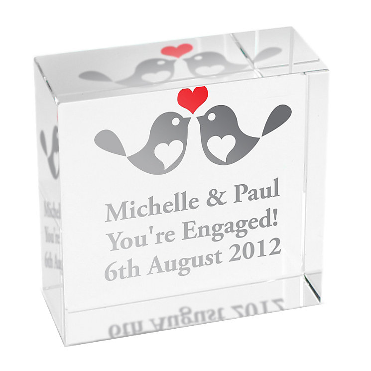 Personalised Love Birds Crystal Token - Product number 1449486
