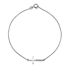 Hot Diamonds Sterling Silver Diamond Sideways Cross Bracelet - Product number 1449494