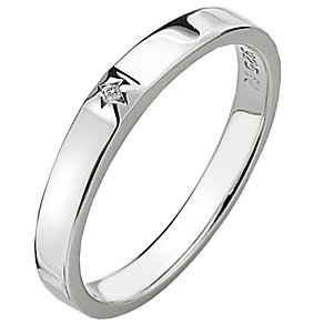 Hot Diamonds Affine Silver Diamond Solitaire Ring Size N - Product number 1449907