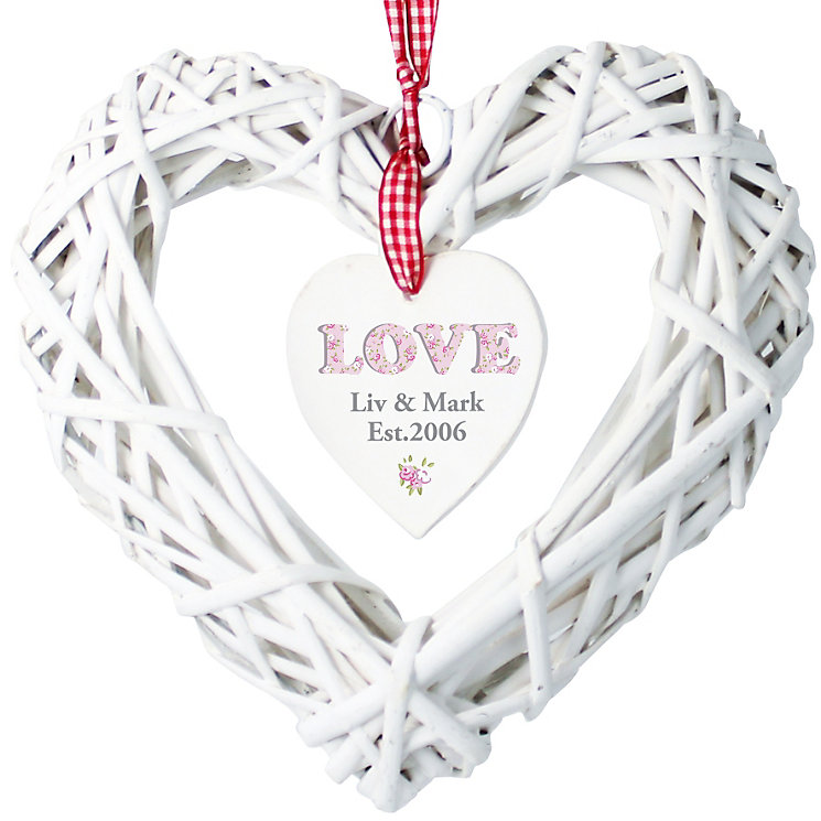 Personalised Floral Love Wicker Heart Decoration - Product number 1449931