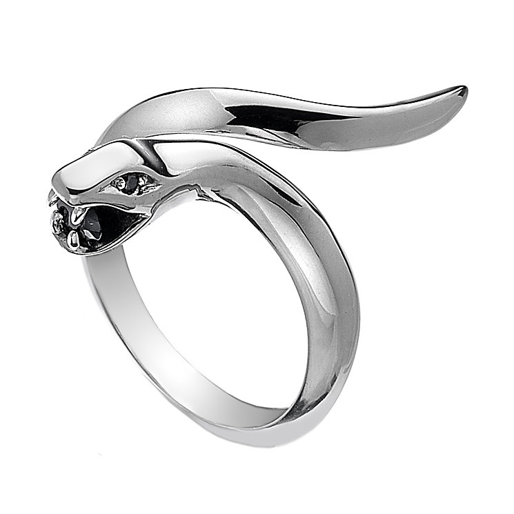 Hot Diamonds Veleno Silver Black Onyx Serpent Ring Size L - Product number 1450050