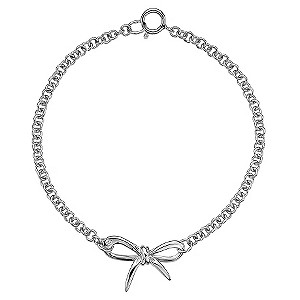 Hot Diamonds Flourish Sterling Silver Diamond Bow Bracelet