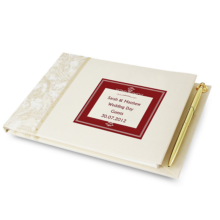 Personalised Red Square Guest Book And Pen - Product number 1450328