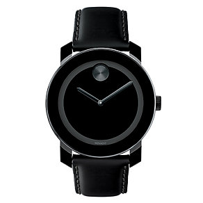 Movado Bold men's black ion-plated leather strap watch - Product number 1452266