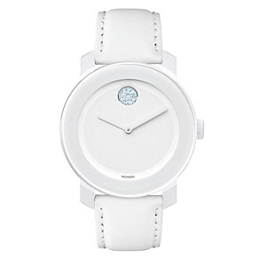 Movado Bold ladies' white ion-plated stone set strap watch - Product number 1452282