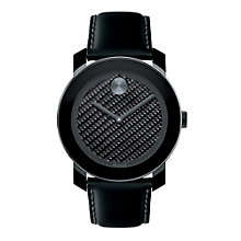 Movado men's carbon dial black ion-plated strap watch - Product number 1452355
