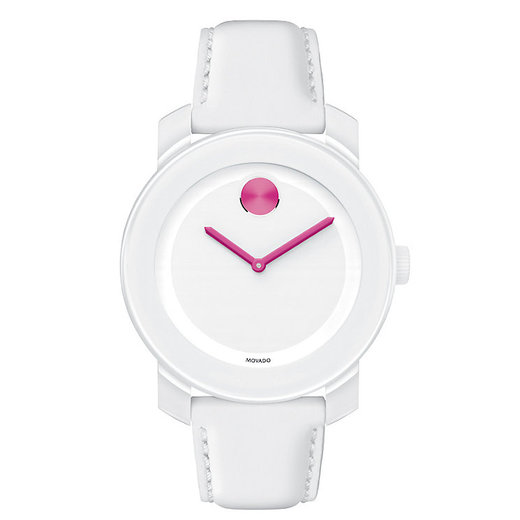 Movado Bold ladies' purple dot white ion-plated strap watch - Product number 1452363
