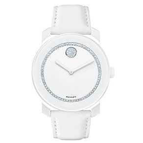 Movado Bold men's stone set white ion-plated strap watch - Product number 1452371