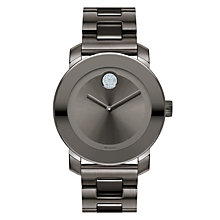 Movado Bold men's stone set grey ion-plated bracelet watch - Product number 1452428