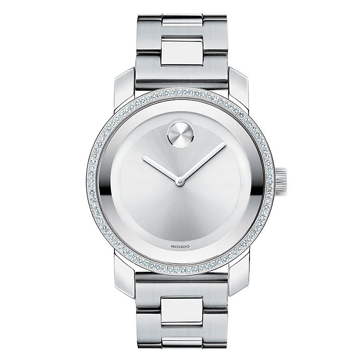Movado ladies' stone set stainless steel bracelet watch - Product number 1452460
