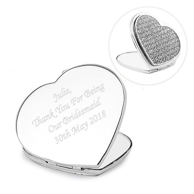 Personalised Diamante Heart Compact Mirror - Product number 1452932