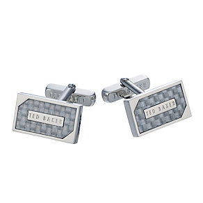 Ted Baker Carbran silver tone & grey cufflinks - Product number 1454706