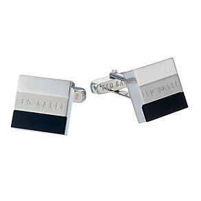 Ted Baker Presh silver tone & black cufflinks - Product number 1454722