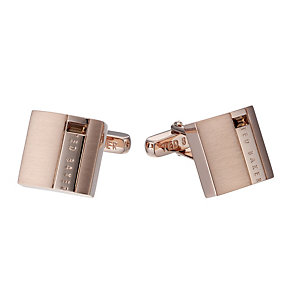 Ted Baker Symtal rose gold-plated stone set square cufflinks - Product number 1454773