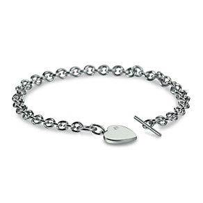 Hot Diamond Sterling Silver Heart T-Bar Bracelet - Product number 1455699