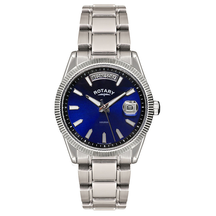 rotary men s blue dial stainless steel bracelet watch ernest jones rotary men s blue dial stainless steel bracelet watch product number 1458078