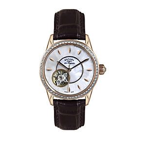 Rotary ladies' rose gold-plated brown leather strap watch - Product number 1458108