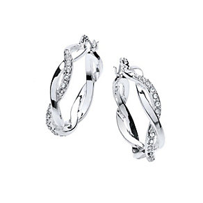 Buckley Silver-Plated French Twist Crystal Hoop Earrings - Product number 1458663