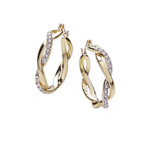 Buckley 18ct Gold-Plated French Twist Crystal Hoop Earrings - Product number 1458701