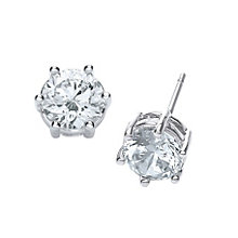 Buckley Rhodium-Plated Medium Cubic Zirconia Stud Earrings - Product number 1459457