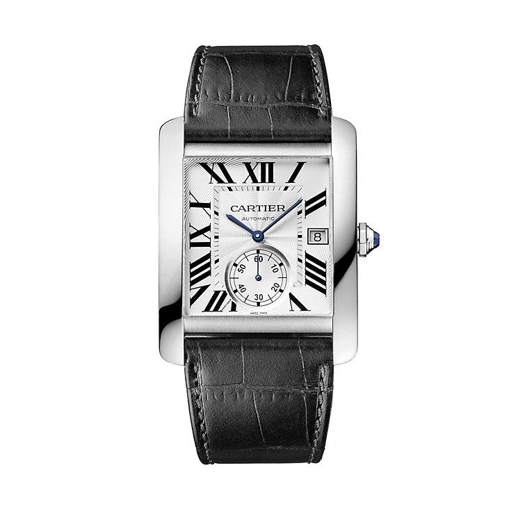 cartier watches ernest jones cartier tank mc men s black leather strap watch product number 1459570