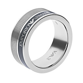Emporio Armani men's stainless steel ridge striped ring - Product number 1462768