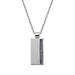 Emporio Armani men's stainless steel striped dog tag - Product number 1462784