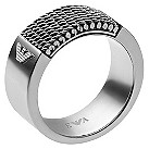 Emporio Armani men's mesh stainless steel logo ring - Product number 1462814