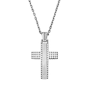 Emporio Armani men's stainless steel textured cross necklace - Product number 1463071