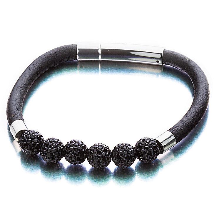 Shimla Black Leather & Black Crystal Bracelet - Product number 1465465