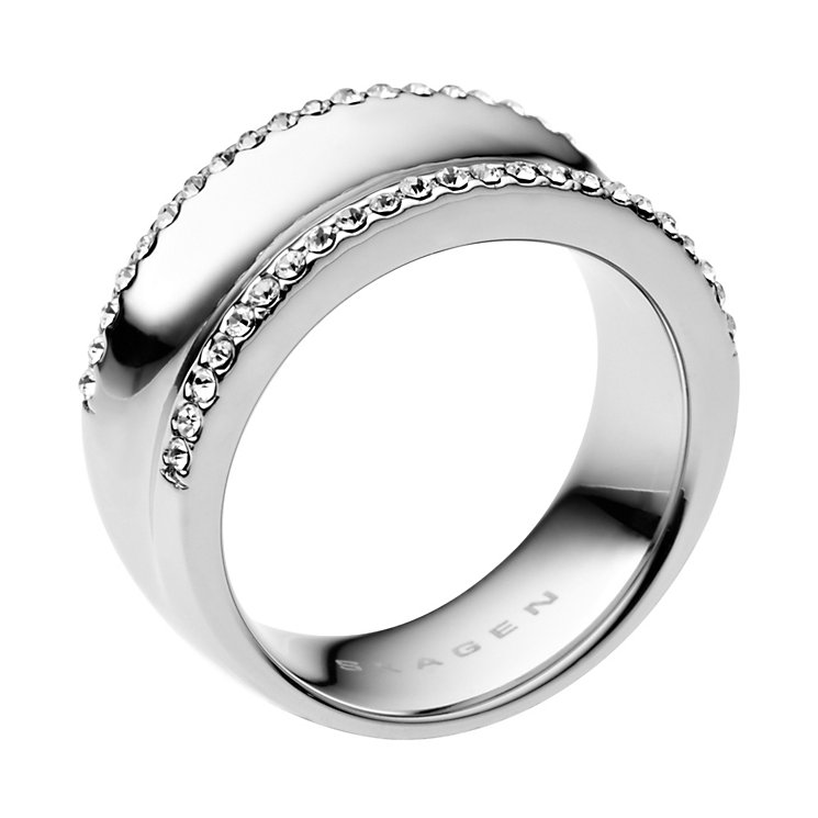 Skagen Resort Stainless Steel Crystal Ring Size Q - Product number 1466364