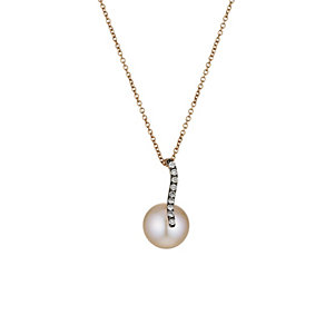 Le Vian 14ct Strawberry Gold pearl & diamond pendant - Product number 1470191