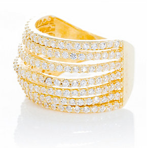 Gaia Sterling Silver Gold-Plated Cubic Zirconia Ring Size N - Product number 1470515