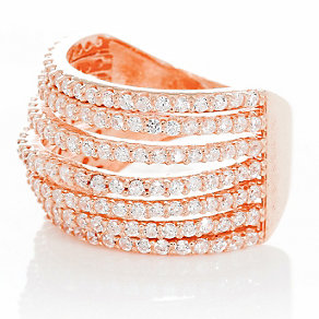 Gaia Sterling Silver Rose Gold-Plated Zirconia Ring Size N - Product number 1470523