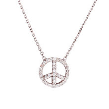 Gaia Sterling Silver Cubic Zirconia Set Peace Sign Pendant - Product number 1470558