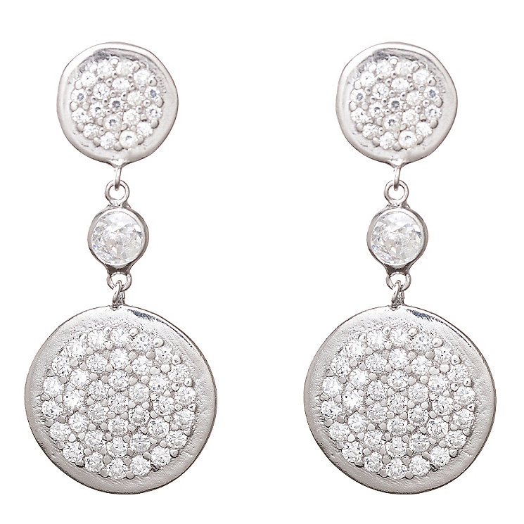 Gaia Sterling Silver Cubic Zirconia Drop Earrings - Product number 1470647