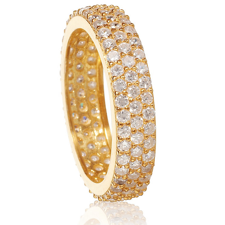 Gaia Sterling Silver Gold-Plated Cubic Zirconia Ring Size L - Product number 1470698