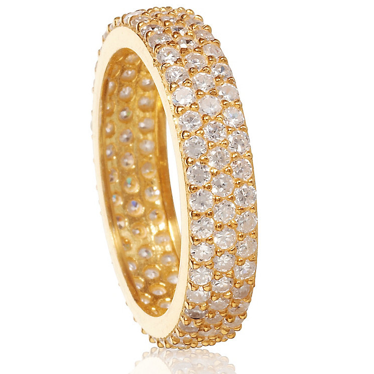 Gaia Sterling Silver Gold-Plated Cubic Zirconia Ring Size N - Product number 1470701