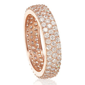 Gaia Sterling Silver Rose Gold-Plated Zirconia Ring Size L - Product number 1471260