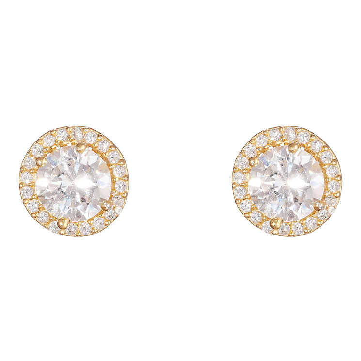 Gaia Silver Gold-Plated Cubic Zirconia Stud Earrings - Product number 1471929