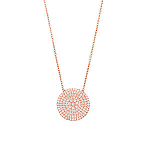 Gaia Silver Rose Gold-Plated Cubic Zirconia Disc Necklace - Product number 1472038