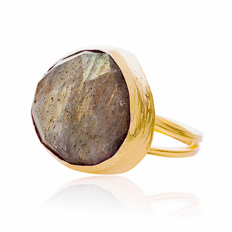 Gaia Gold-Plated Labradorite Adjustable Ring - Product number 1472070