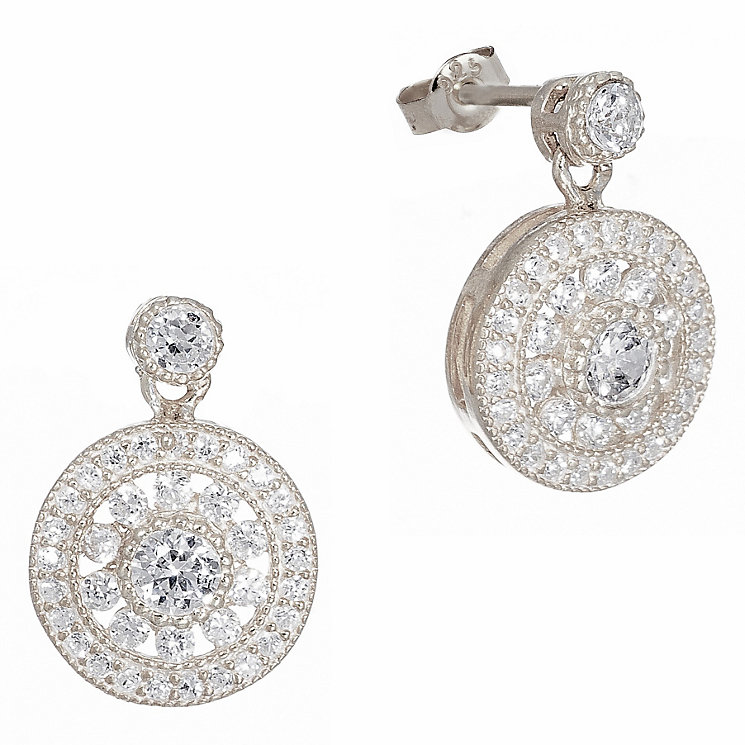 Gaia Sterling Silver Cubic Zirconia Antique Style Earrings - Product number 1472879