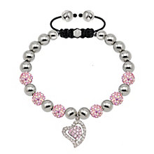 Tresor Paris two tone pink crystal heart charm 8mm bracelet - Product number 1473808