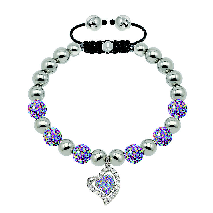 Tresor Paris 2 tone purple crystal heart charm 8mm bracelet - Product number 1473816