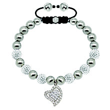 Tresor Paris steel & white crystal heart charm 8mm bracelet - Product number 1473824